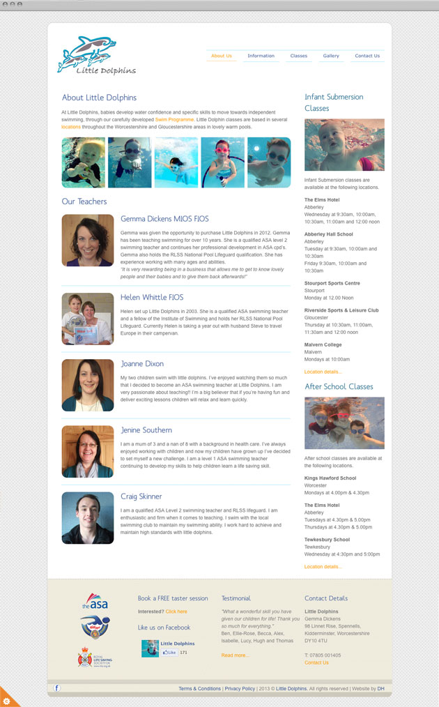 About page - Little Dolphins website design