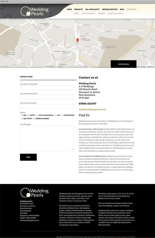 Wedding Pearls contact - Responsive commerce website redesign