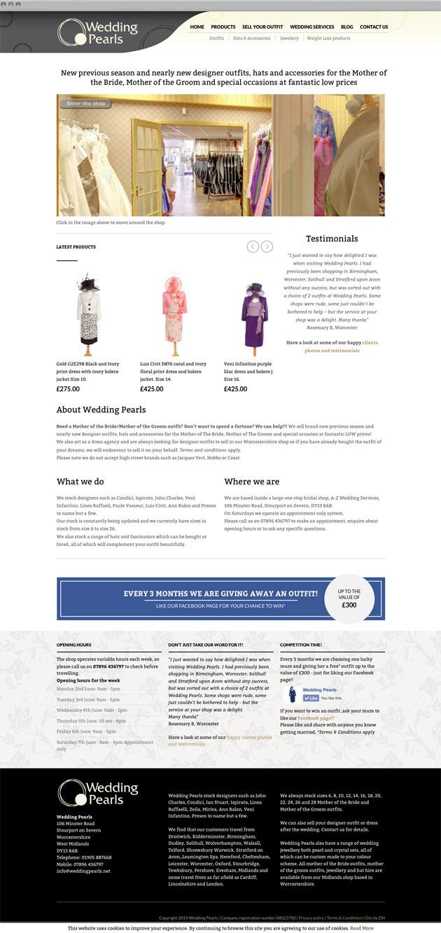 Wedding Pearls homepage - Responsive ecommerce website redesign