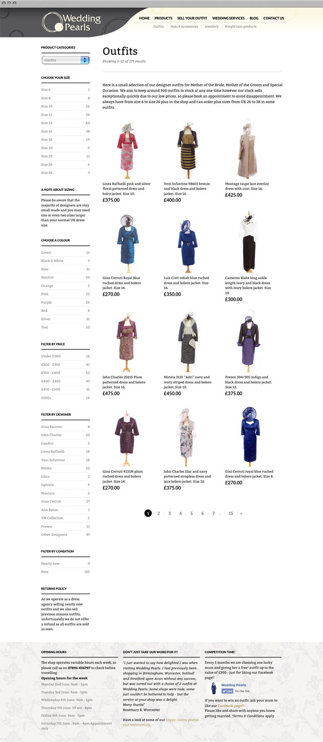 Wedding Pearls Outfits - Responsive commerce website redesign